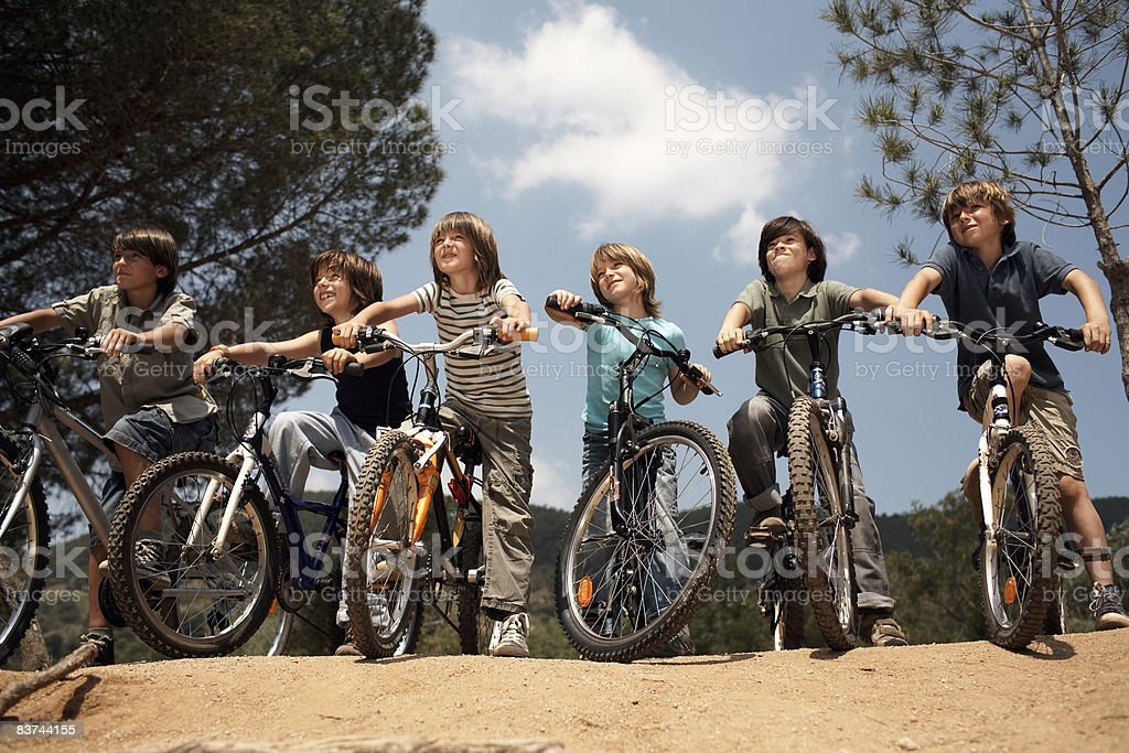 boys on bicyles royalty-free stock photo