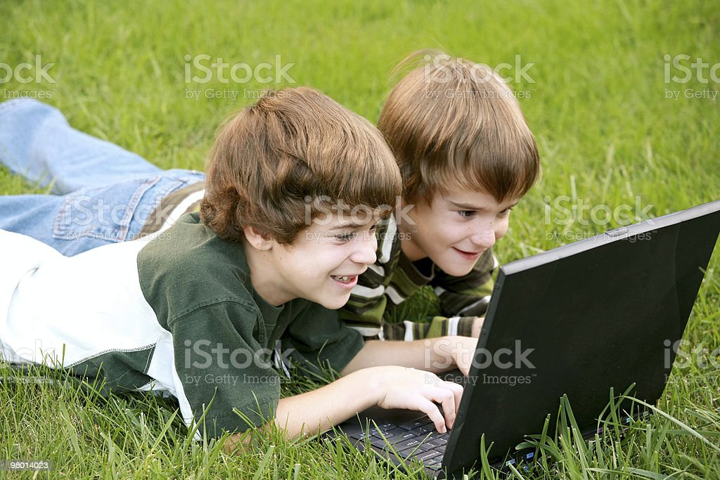 Boys on Computer royalty-free stock photo