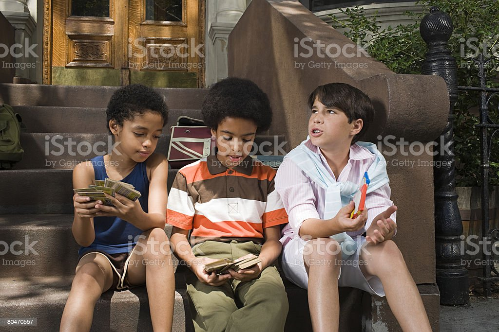 Boys on steps royalty-free stock photo