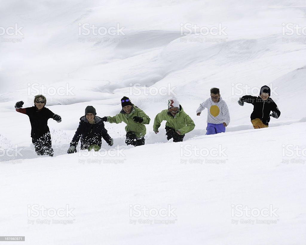 Boys on the snow royalty-free stock photo