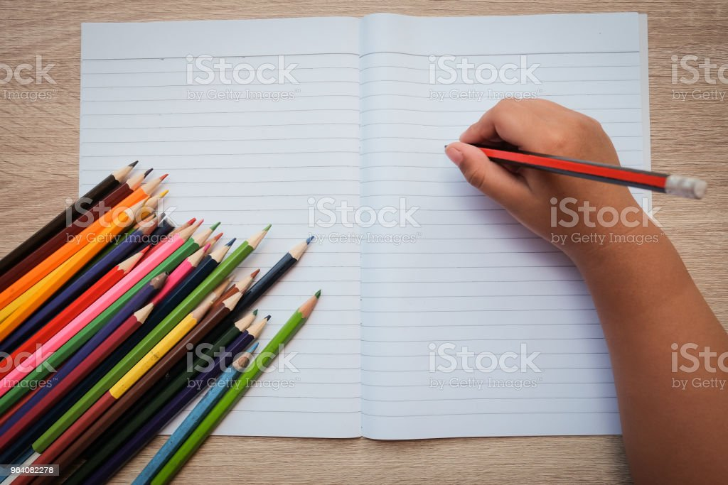 Boys, pencils, crayons, and paper. - Royalty-free Art Stock Photo