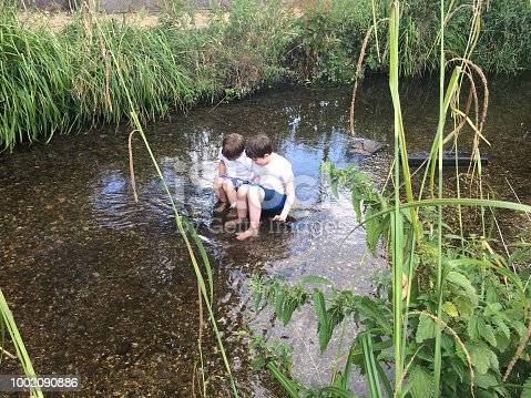 Boys playing in the river