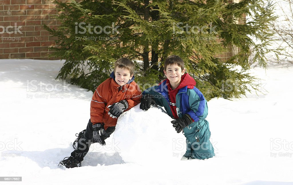 Boys Playing in the Snow royalty-free stock photo