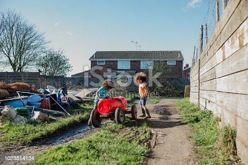 istock Boys Playing with Handmade Go-Kart 1023514124