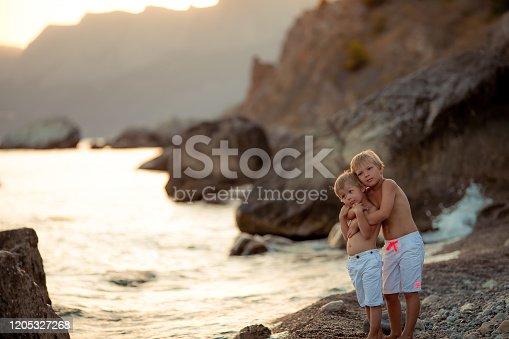 505122600 istock photo Boys schoolchildren walk at sunset on the beach 1205327268