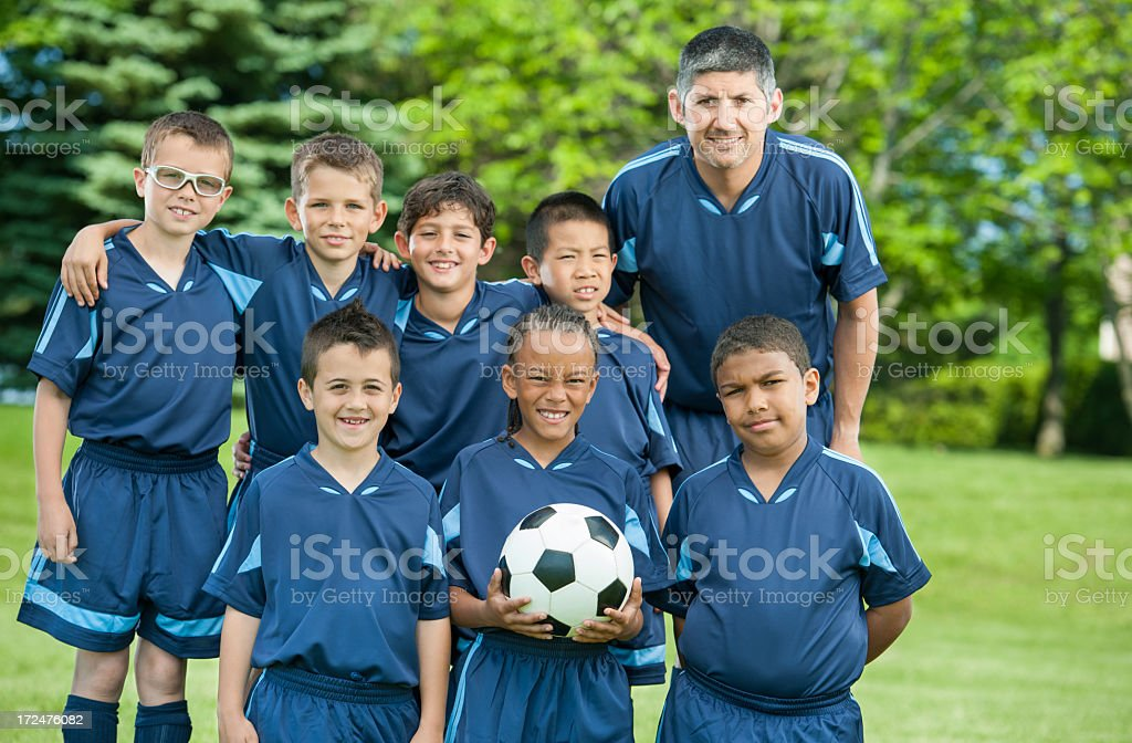 Boys Soccer Team stock photo