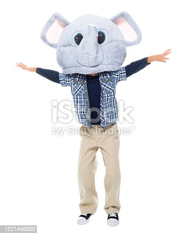 Front view of boys standing in front of white background wearing costume who is bizarre