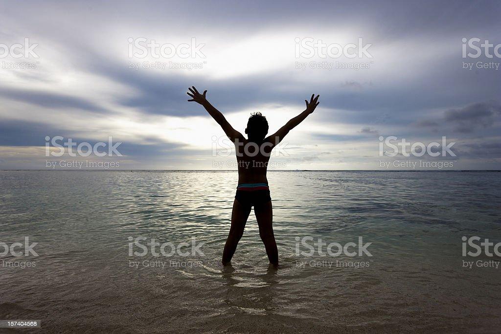 Boy's Sunrise Freedom royalty-free stock photo