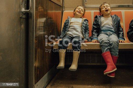 Boys taking the subway