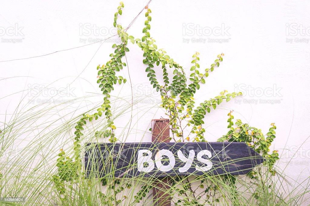 Boys text on arrow sign pointing left for toilet bathroom. – Foto