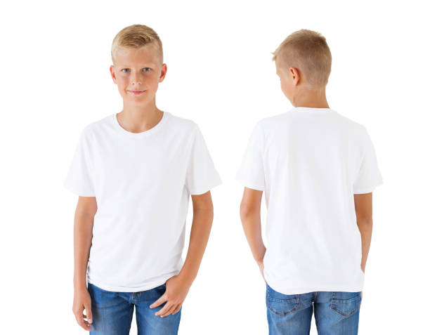 Boy's white t-shirt mockup template, front and back Caucasian ethnicity boy's white t-shirt mockup template, front and back white t shirt stock pictures, royalty-free photos & images