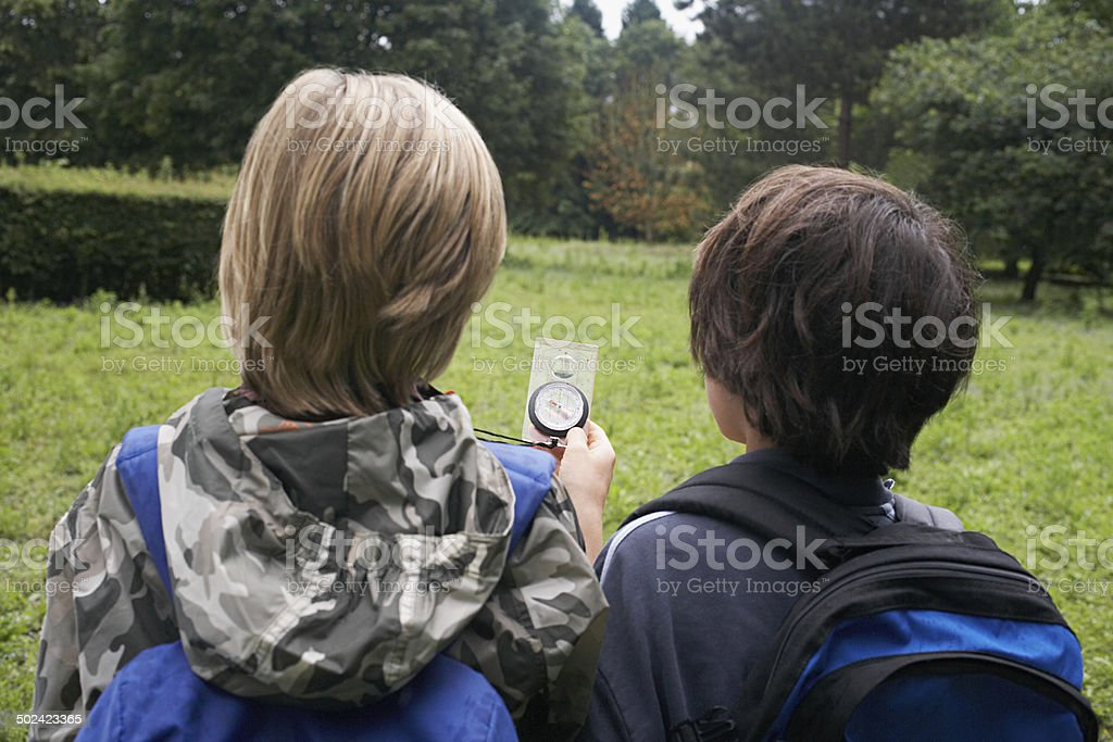 Boys With Backpacks Using Compass stock photo