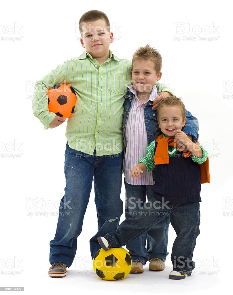 Boys with football royalty-free stock photo