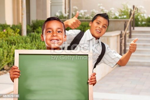 istock Boys with Thumbs Up Holding Blank Chalk Board on Campus 482629736