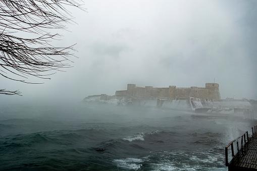 Bozcaada Castle by the sea, winter