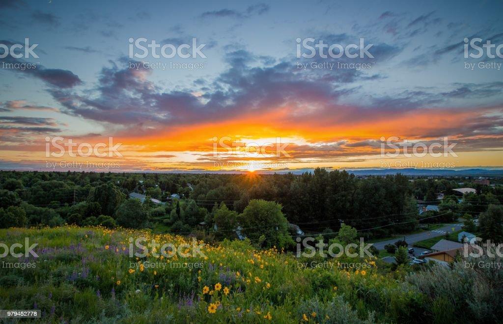 Bozeman Sunset stock photo
