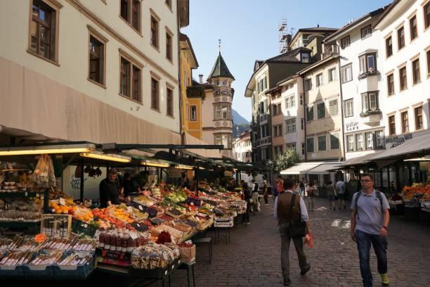 Bozen / Bolzano - street market stock photo