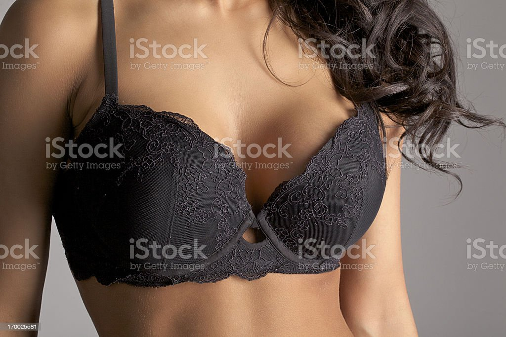 Bra and Breasts Close-up stock photo
