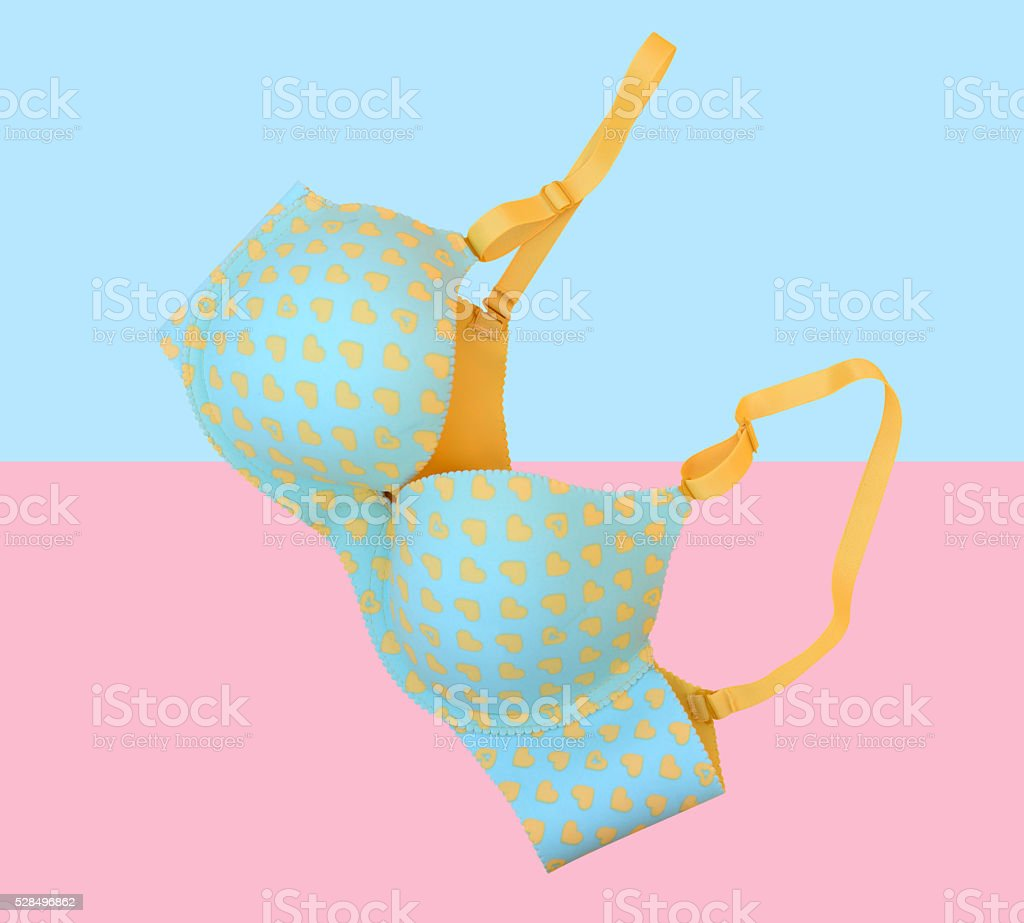 bra fashion on colorful background (pop art) stock photo