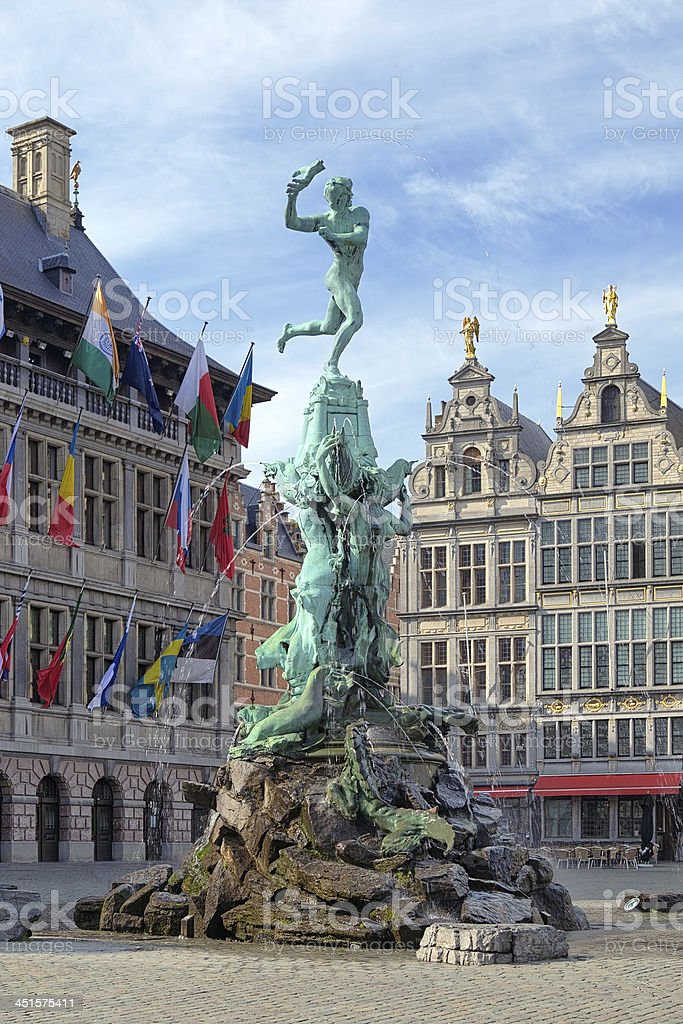 Brabo fountain in Antwerp, Belgium stock photo