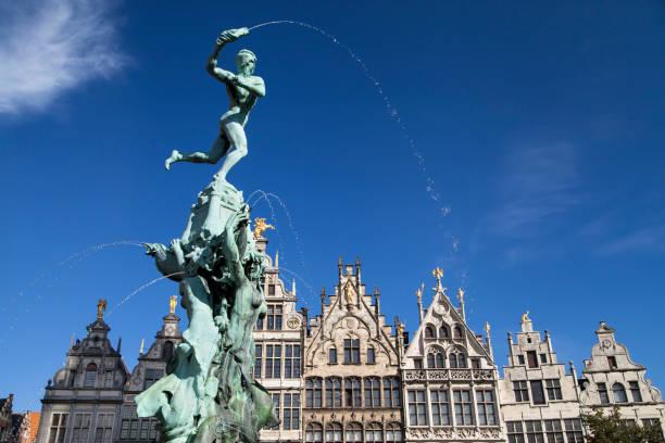Brabo Fountain in Antwerp stock photo