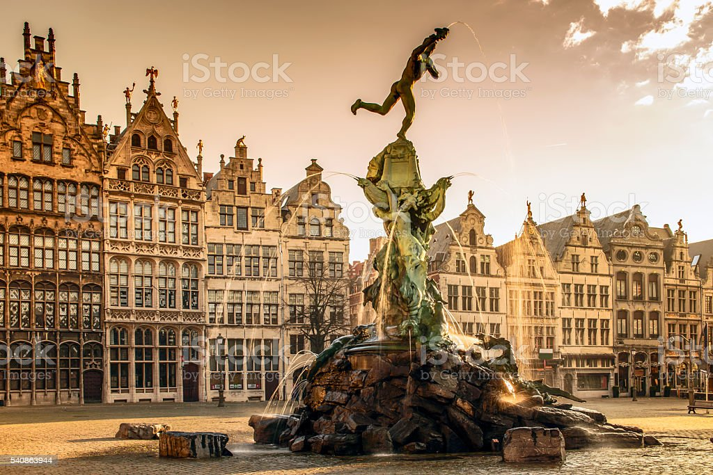 Brabo fountain in Antwerp,Belgium Brabo fountain in front of the town hall on the Great Market Square of Antwerp, Belgium Ancient Stock Photo