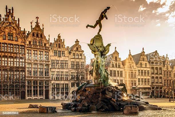 Brabo Fountain In Antwerpbelgium Stock Photo - Download Image Now
