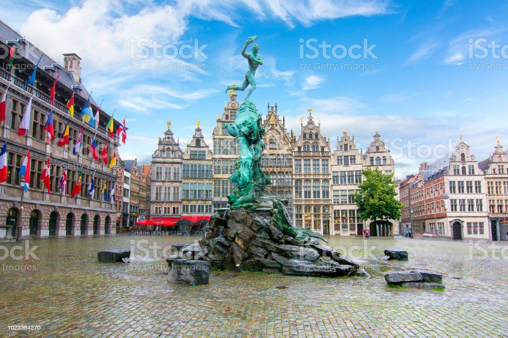 Brabo fountain on market square in Antwerp, Belgium stock photo