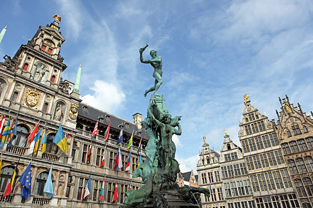 Brabo Statue and City Hall of Antwerp Belgium Brabo Statue in front of the City Hall in Antwerp, Belgium. belgium stock pictures, royalty-free photos & images