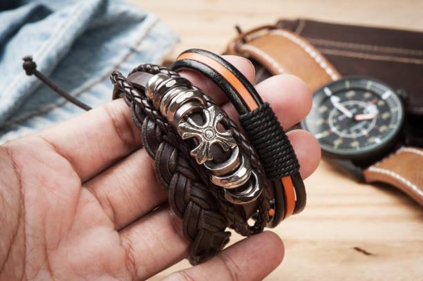bracelet for men - a zone armband stock-fotos und bilder