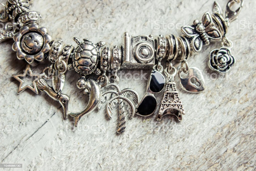 bracelet with charms. selective focus. Beauty and fashion. stock photo