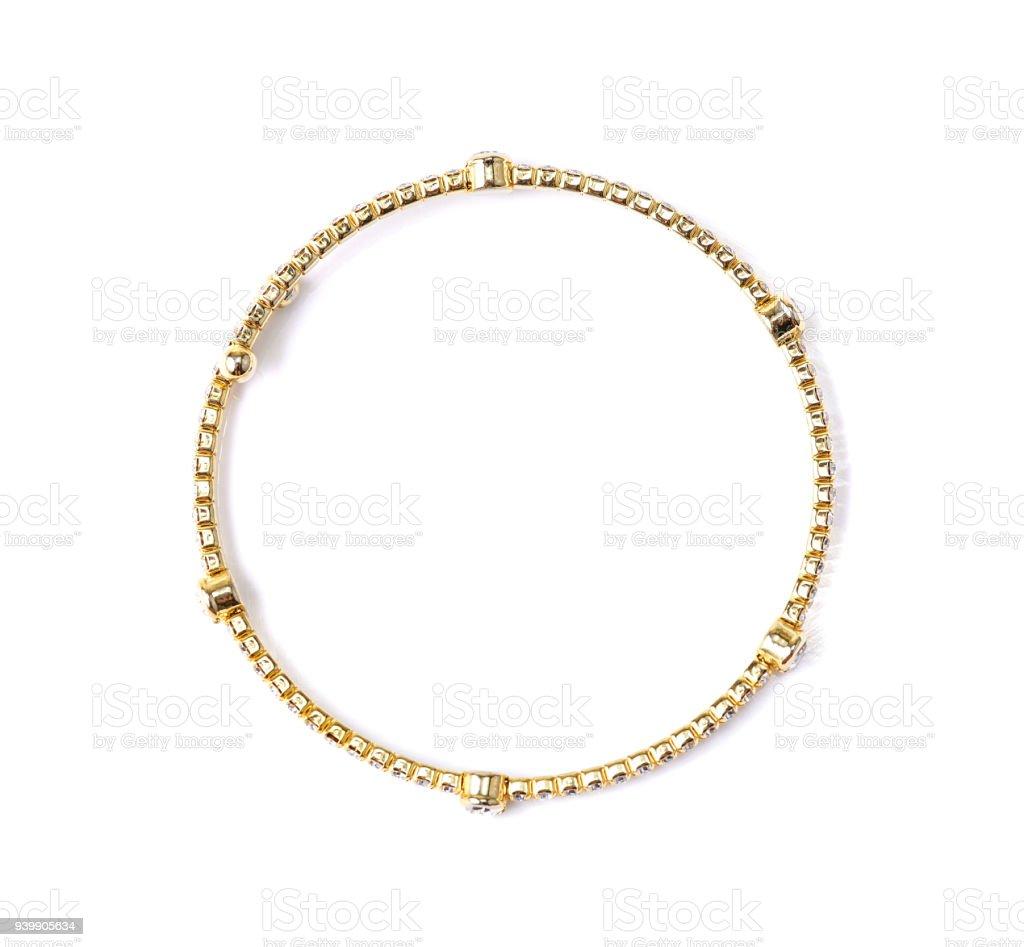 bracelet with diamonds on white background stock photo