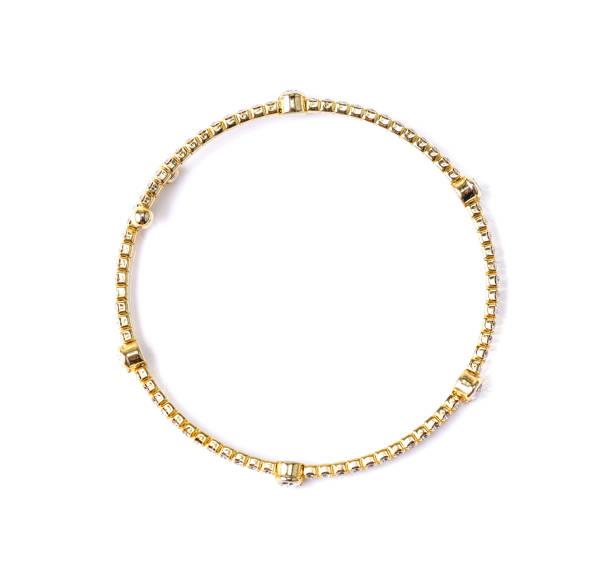 bracelet with diamonds on white background - браслет стоковые фото и изображения