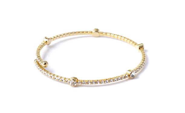 bracelet with diamonds on white - браслет стоковые фото и изображения