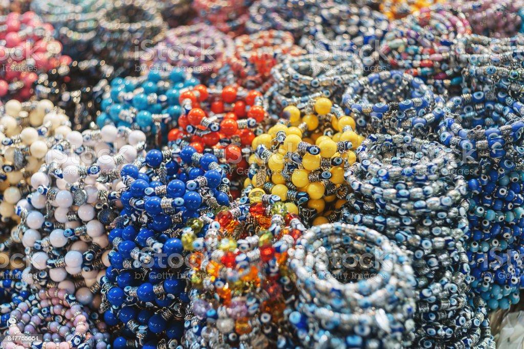 Bracelets at the bazar of Istanbul (Turkey) stock photo