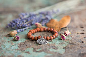 Bracelets made with natural stone beads and various signs