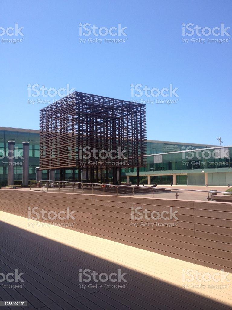 Bracelona Airport Outdoor Smoking area stock photo