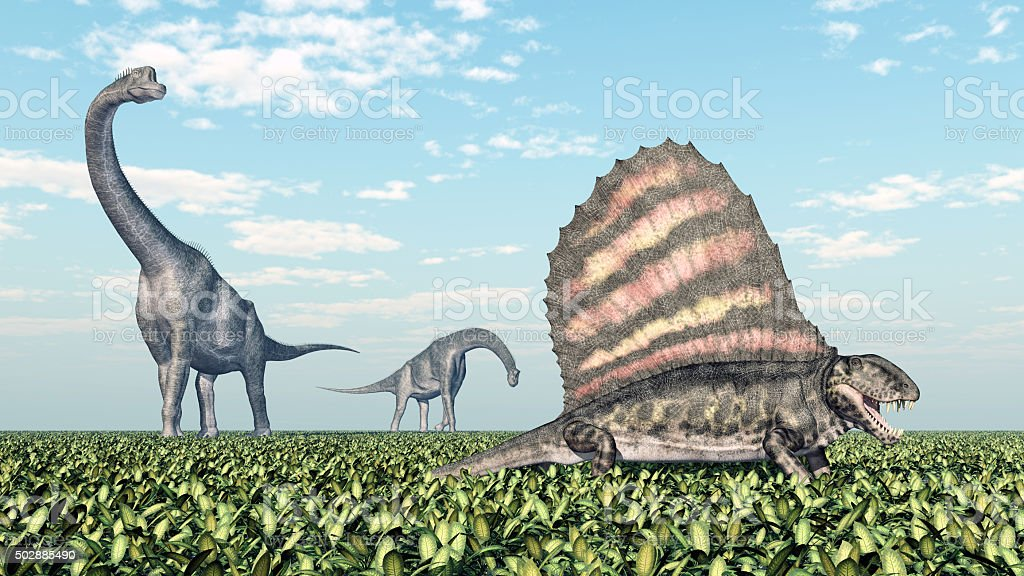 Brachiosaurus and Dimetrodon stock photo