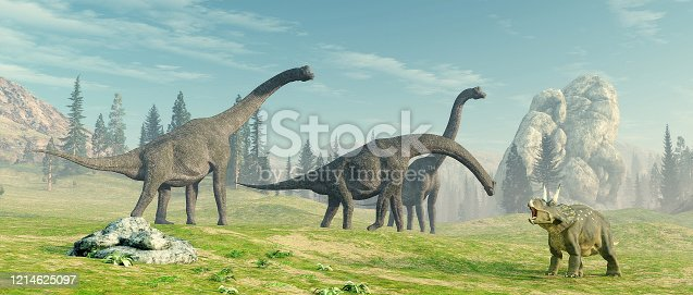 istock Brachiosaurus species in the nature . This is a 3d render illustration. 1214625097