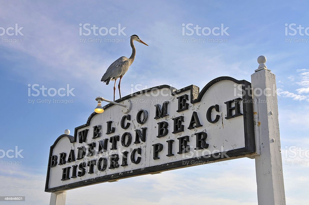 Bradenton Beach Historic Pier Sign stock photo