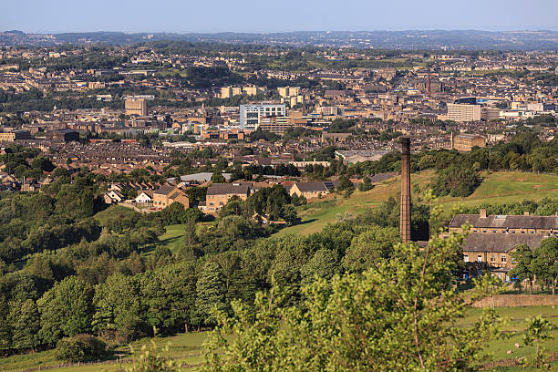 Bradford city centre - viewed from Clayton stock photo