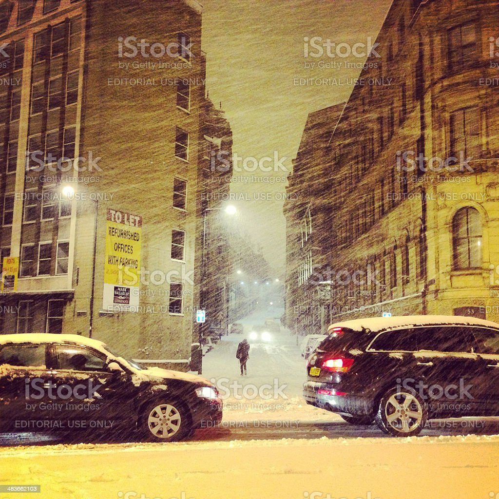 Bradford in a blizzard royalty-free stock photo