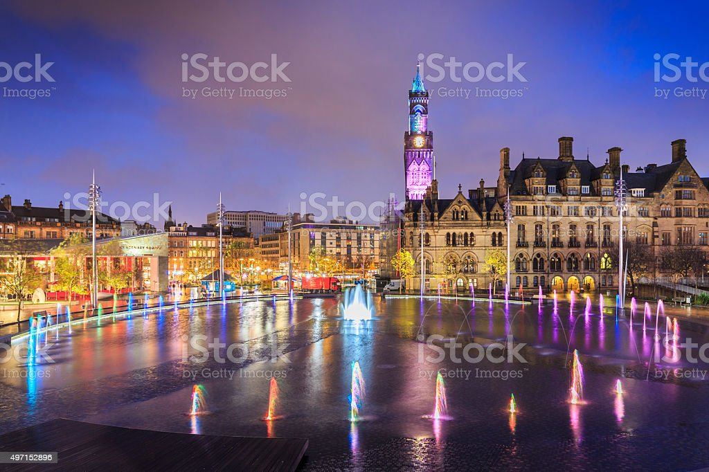 Bradford Town Hall and Centenary Square at night stock photo