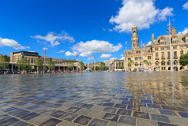 Bradford Town Hall and Centenary Square in summer stock photo