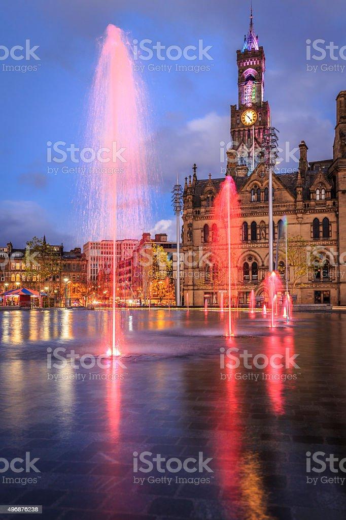 Bradford Town Hall at night stock photo