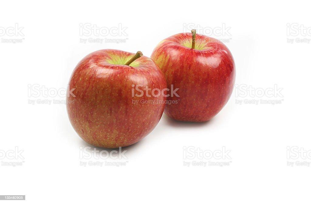 Braeburn apples on white background stock photo