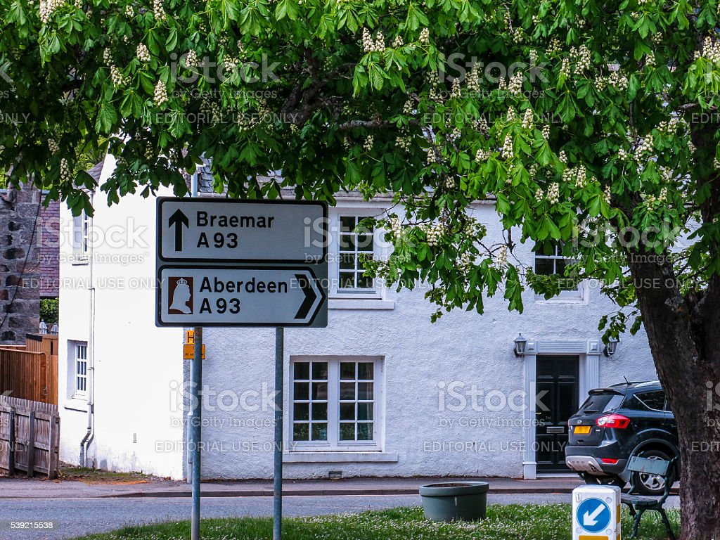 Braemar Aberdeen Junction Road Sign, Tourist Route, Royal Deeside, UK stock photo