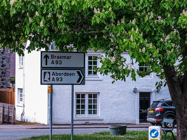 Braemar Aberdeen Junction Road Sign, Tourist Route, Royal Deeside, UK stock photo
