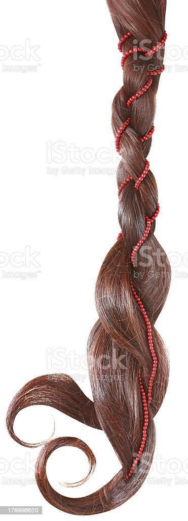 Braid decorated with a string of beads royalty-free stock photo