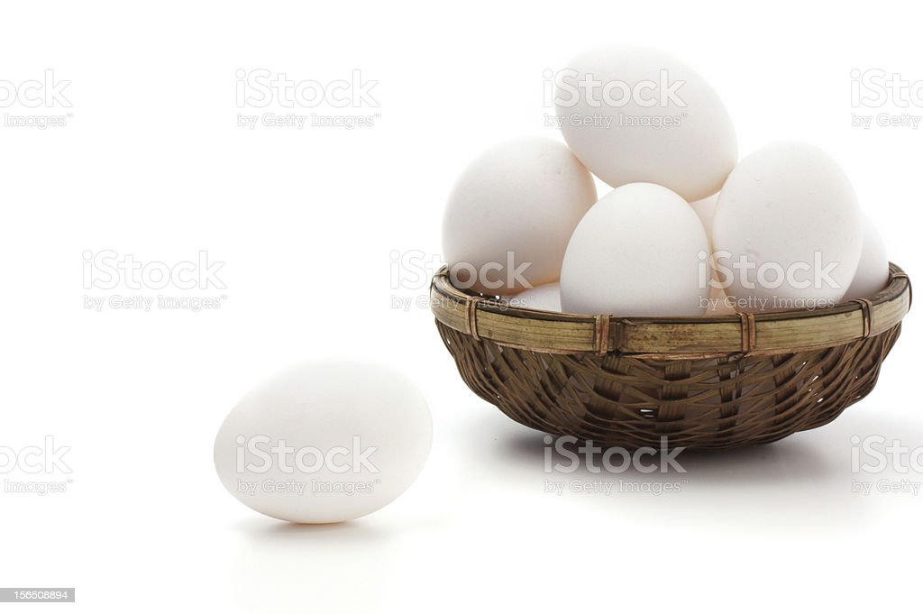 Braided basket with eggs on white background stock photo